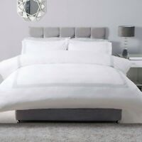 100% Cotton Percale Duvet Cover Set Crisp White with Honeycomb Design in Grey