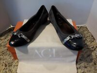 Auth AGL classic buckle Hematite ballet flats 8.5 suede gray black 38.5 $310
