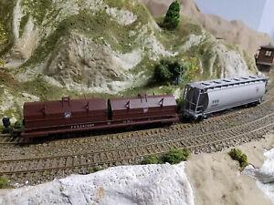 HO  PRR / CR 2-car set; coil car / covered hopper; Conrail / NS / CSX ; rare