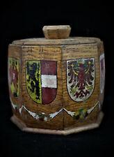 Ancien pot à tabac  bois octogonal avec blasons français - pièce unique