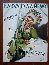 1938 HARVARD v DARTMOUTH college football program - great cover illustration art