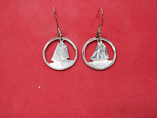 Hand Cut Canada Dime Made into Earrings
