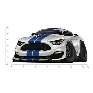 White & Blue Mustang Car Wall Decal Sticker WS-41208