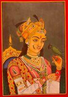 Indian Hand Painted Miniature Ragini Maharani Painting Paper Portrait Art Finest