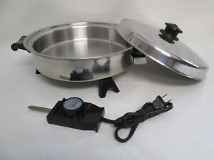 "Vintage Saladmaster 11"" Electric Skillet Stainless Steel Oil Core Vapo Lid 7817"
