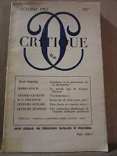 """Revue """"Critique"""" N°197, Octobre 1963, éditions de Minuit"""