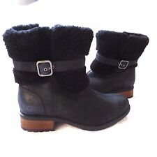 UGG BLACK BLAYRE II SHEEPSKIN CUFF LEATHER BOOTS US9 New