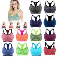 Women Yoga Fitness Stretch Workout Tank Top Seamless Padded Sports Bra new