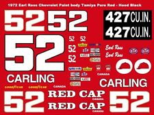 #52 Earl Ross Red Cap Beer Carling Chevy 1/64th HO Scale Slot Car Decals