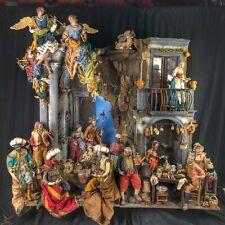 Presepe Napoletano completo scena casa osteria Nativita' arte 165x60x150 cm