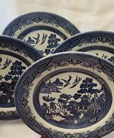 "4 Churchill England Blue Willow - 10-1/4"" Dinner Plates"