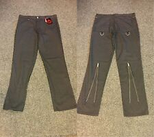 Death Kitty Black/White Pinstriped Zip/Bondage Trousers Goth/Punk/Steampunk W36