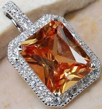 Spakling 925 Silver Charm Citrine Topaz Gemstone Crystal Necklace Pendant Party