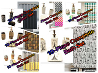 19-Piece Complete Bathroom Set Rugs Shower Curtain Hooks Ceramic All Included!!