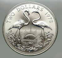 1972 The BAHAMAS SILVER 2 Dollars Large Coin Elizabeth II FLAMINGO Birds i85126