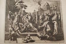 GRAVURE SUR CUIVRE ENFANT MODELE JEUS -BIBLE 1670 LEMAISTRE DE SACY (B206)