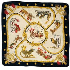HERMES PARIS PLUMES ET GRELOTS PRINTED LARGE Foulard Silk Scarf 35/33 Inches