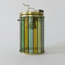 LIGHTOLIER Stained Glass Ceiling Light Fixture vintage mid century MCM brass
