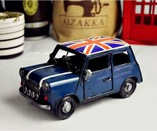 Retro Mini Cooper Vintage Tin Metal Car Model Hand Made UK National Flag - Blue