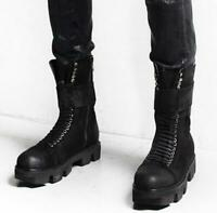 Men Punk shoes lace up zipper platform work military boots New Real Leather Boot