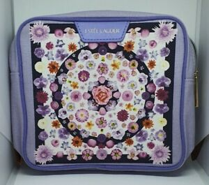 Estee Lauder Make Up/cosmetic/travel bag floral white/lilac 18x5x17cm high