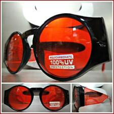 Classic Vintage Retro Style SUN GLASSES Large Thick Round Black & Red Frame Lens