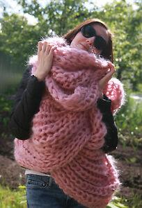 5 strands Premium Mohair EXTRA LONG SCARF hand knit light pink  Men Women