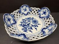 "VTG Antique Meissen Blue Onion Reticulated Bowl Crossed Swords 8.75"" Width"