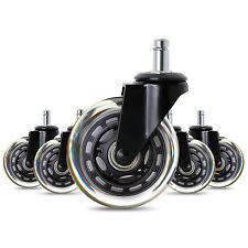 "5x 2.5"" 3"" Heavy Duty Office Chair Caster Wheels Swivel Rubber Wood Floor"