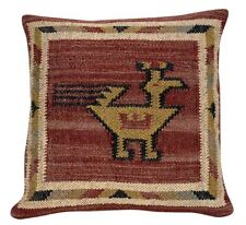 Handwoven Kilim Cushion Cover 18x18 Decorative Jute Square Rug Pillow Cases
