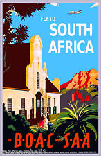Fly to South Africa Airplane Vintage African Travel Advertisement Poster