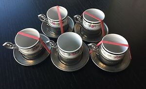 Set of 5 Vtg. Decorated Tin Cup with Handle, Saucer, w Sebring Porcelain Cup