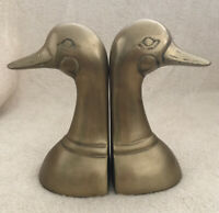 "Vintage Brass Goose Duck Head Bookends Mid Century 6"" Vintage Brass Book Ends"
