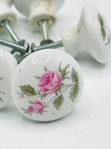 Vintage White Floral Porcelain Drawer Door Pulls Knobs Set of 7 with Screws