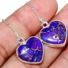 Heart - Copper Purple Turquoise 925 Sterling Silver Earring Jewelry AE142626