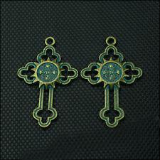 10PCS/lots 38x24mm Antique Bronze Patina Cross Charms Pendant DIY Jewellery Hot