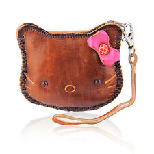 Cute Brown Lucky Kitty Coin Leather Purse Wallet Handbag Charm Keychains LW3
