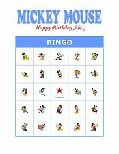 Disney's Mickey or Minnie Mouse Birthday Party Game Bingo Cards