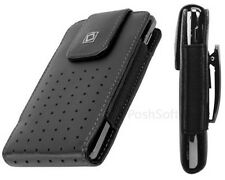 Leather VERTICAL Case Pouch for Apple iPhone 5S & SE ~Black + Holster