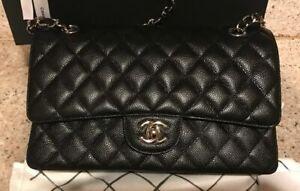 CHANEL Double Flap Classic Caviar Medium Silver HW SHW 2.55 Black Leather Bag