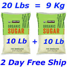 Kirkland Signature Organic Cane Sugar Fine Granulated Raw - 10 Lb X 2 Pack=20Lbs