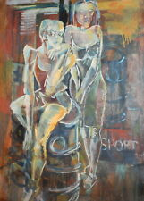 Vintage abstract modernist oil painting portrait
