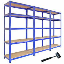 Monster Racking 3 Shelves T-Rax Metal Storage Shelves, Blue - 3 Pack