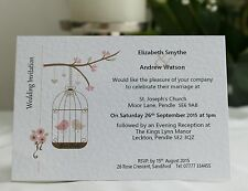 50 x Personalised Wedding Invitations Day Evening with Envelope Birdcage