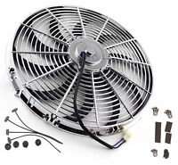 """16"""" Inch Chrome Electric Cooling Radiator Fan Curved Hot Rod With Mount Kit"""