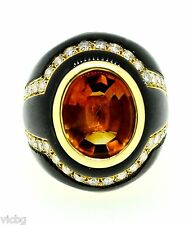 and Onyx Ring in 18K Gold Finest 1980s Vintage Sabbadini Golden Citrine Diamond