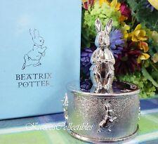 Beatrix Potter Music box Silverplate Peter Rabbit Musical Lovely