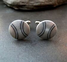 Handmade Oxidized Silver Baseball Cuff Links