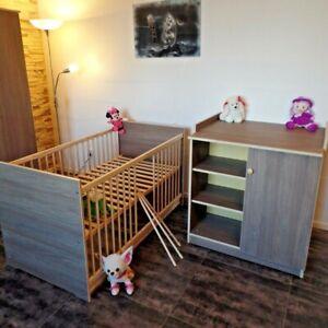 Babyzimmer Komplett Set Babybett 70x140 Umbaubar BraunCAFE Wickelkommode NEU!!!