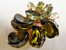 1950'S  RHINESTONE BROOCH AVOCADO NOVELTY  PIN  FOIL BACKING PRONG SET